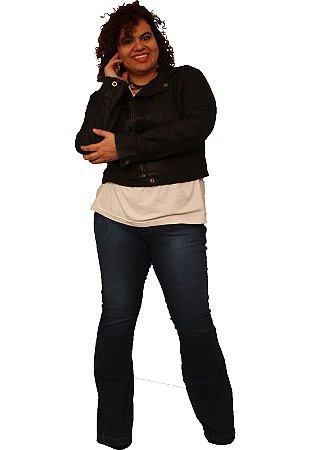 Jaqueta em Jeans Resinado com aparencia de couro - It Rocks Preto