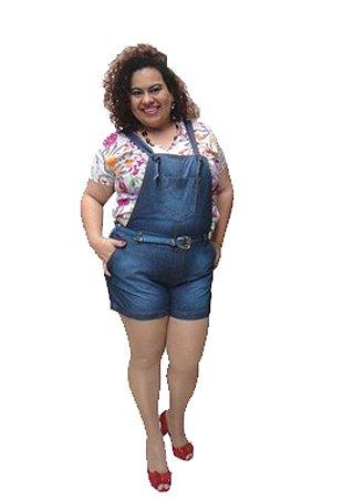 Jardineira Shorts Hanna plus size