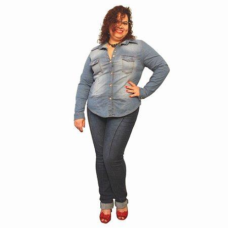 Camisa Jeans Strech Manga longa - Delos Lavagem Clara Slim and Plus Size