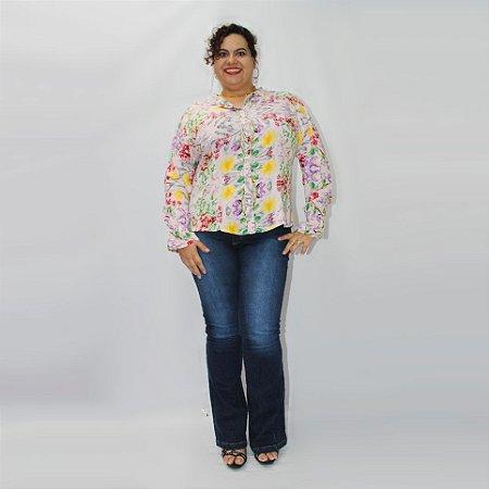 Calça Flare Jeans LARRÍ com elastano plus size