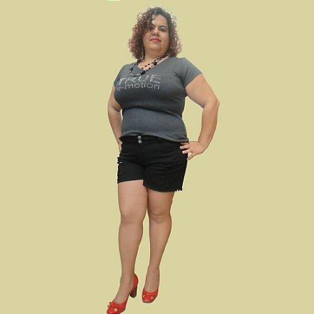 Shorts Grounge 01-Preto plus size -jeans