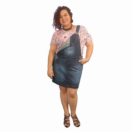 Jardineira Saia Jeans MISS SPRING plus size com fivela