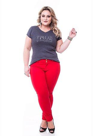 Calça Skinny Slim& plus Size Vermelha Com Elastano (do 38 ao 52)