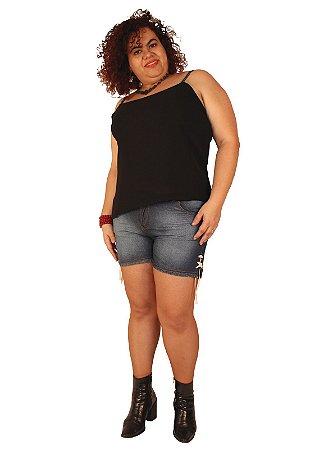 Shorts Jeans Com Detallhe Barra Cordão Stone blue- BRAN