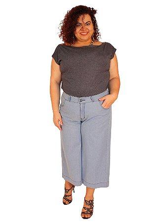 Calça Pantacurt jeans cintura com elastico BRUNA Lavagem Clara