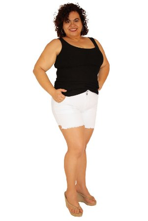 Shorts  Sarja Strech Branco - Hightsummer19 plus size Do 46 ao 60