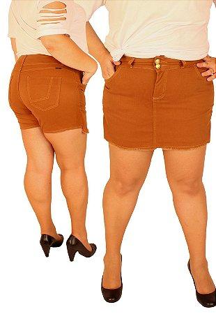 Short Saia MANUH2 Plus Size com elastano Caramelo