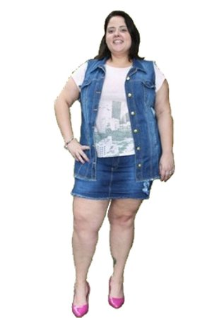 Short-Saia Jeans com elastano GIRLPOWER plus size Tam: 48 e 54
