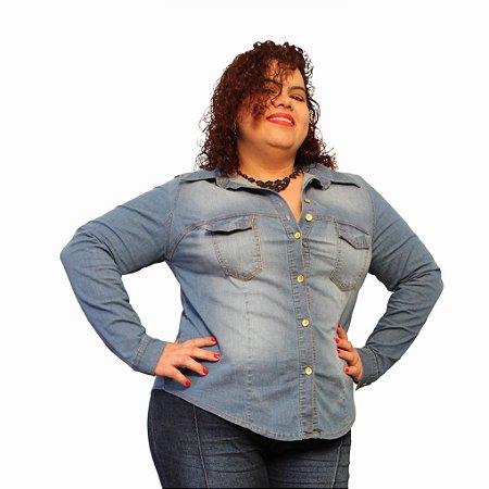 Camisa Jeans Strech Manga longa 46; 48 e 52 - Delos Lavagem Clara Plus Size