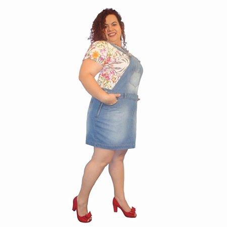 Jardineira Saia Jeans MISS SPRING plus size com fivela Cor: 62-Light Blue tam: 46; 56