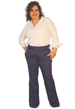 Calça Social Feminina Microfibra elegance Marinho Noite Maquinetado