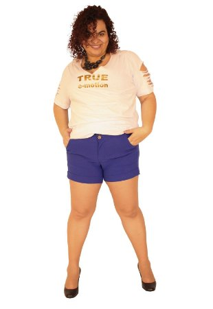 Shorts Social ultra power Barra Italiana Plus Size Alfaiataria LADY Azul