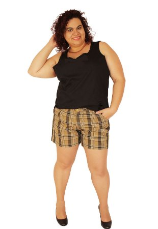 Shorts Alfaiataria CHESS Xadrez Caramelo