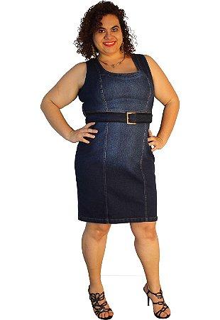 Vestido jeans tubinho strech Aline Jeans azul 63: used pesponto ocre original