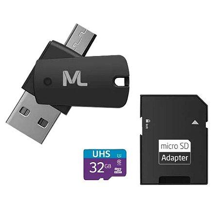 Cartão de Memória 32GB 4X1 Adap. USB + Adap. SD + UHS1 C10 MC151 Multilaser