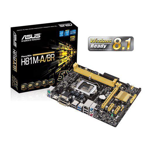 Placa mãe ASUS p/ Intel LGA 1150 mATX H81M-A/BR, 2xDDR3 HDMI/DVI/VGA