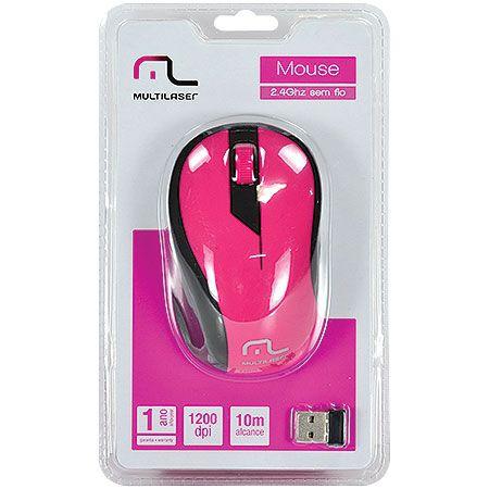 Mouse Sem Fio Multilaser Mo214 Rosa e Preto