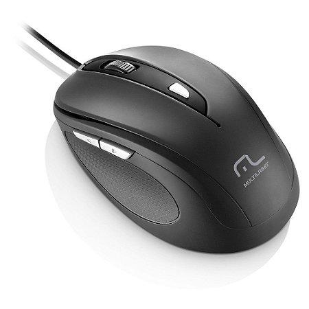 Mouse MULTILASER C/ FIO COMFORT PRETO 1600 DPI MO 241