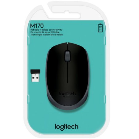 Mouse Logitech M170 Sem Fio Preto e Cinza