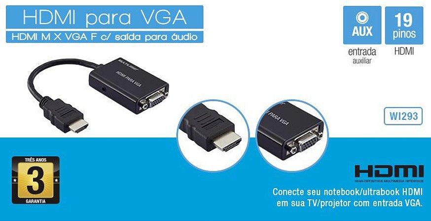 Cabo Conversor HDMI para VGA com Saída de áudio - WI293 Multilaser