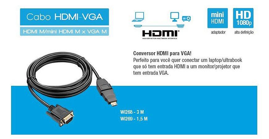Cabo Multilaser HDMI-VGA 1.5M com Adaptador - WI269