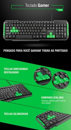 Teclado Multilaser Multimidia Gamer Teclas Verdes USB - TC201