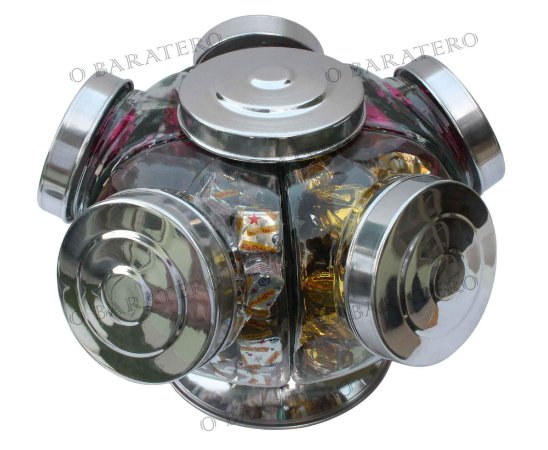 Baleiro Giratório MD 27 CM 01 Andar Alumínio- Bar Mercearia Presente Noiva Mãe Balas Doces Antigo