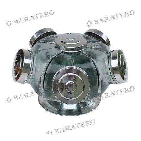 Baleiro Giratório GG 35 CM 01 Andar Alumínio - Bar Mercearia Presente Noiva Mãe Balas Doces Antigo