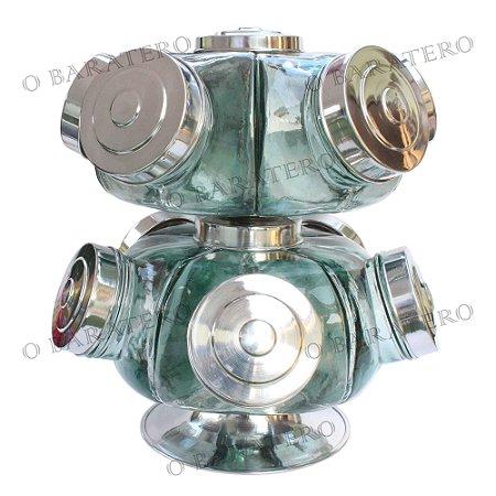 Baleiro Giratório GG 35 CM 02 Andares Alumínio - Bar Mercearia Presente Noiva Mãe Balas Doces Antigo