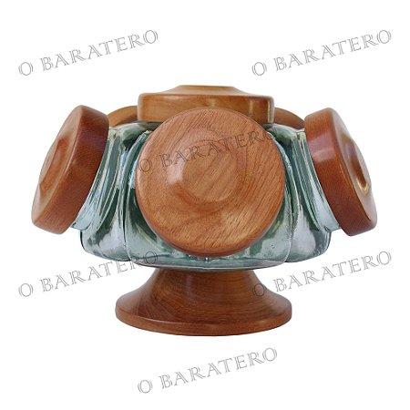 Baleiro Giratório PQ 22 CM 01 Andar Madeira - Bar Mercearia Presente Noiva Mãe Balas Doces Antigo