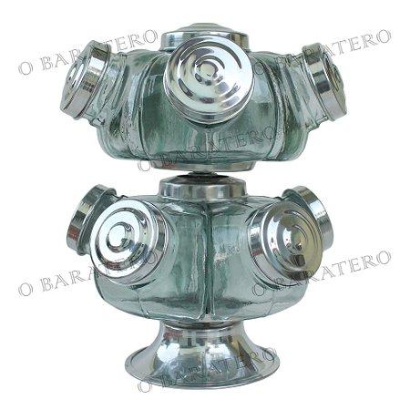 Baleiro Giratório PQ 22 CM 02 Andares Alumínio - Bar Mercearia Presente Noiva Mãe Balas Doces Antigo