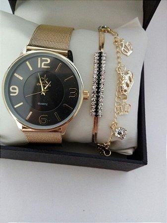 Kit 5 Relogios Top Femininos + pulseiras e caixinhas