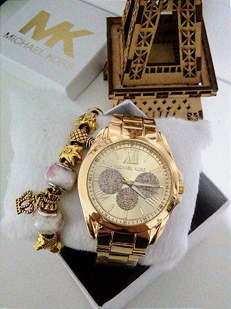 Relogio Feminino MK Dourado + pulseira Pandora e caixinha exclusiva