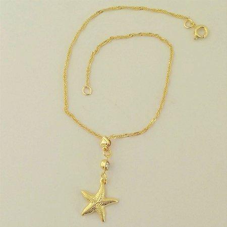 Tornozeleira Folheada a ouro 18k - Pingente Estrela do mar