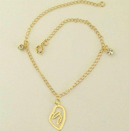 Tornozeleira Folheada a ouro 18k - Pingente Coração de Maria