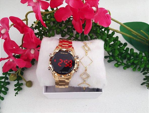 Kit com Relógios Femininos Digitais MK + Pulseiras folheadas e caixinhas