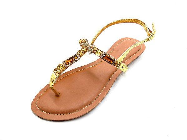 Sandália Rasteira com Pedrarias Douradas e Laço de Strass - 280S2