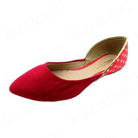 Sapatilha Laura Miguel Bico Fino Vermelha com Poá Vermelho - 753