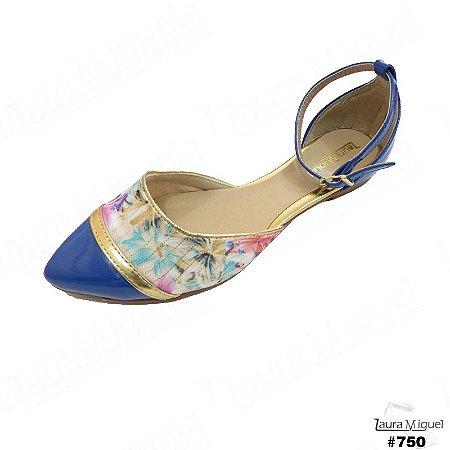 Sapatilha Laura Miguel Dorsay Azul com Floral - 750