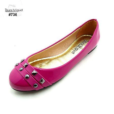 Sapatilha Laura Miguel Bico Redondo Pink - 736