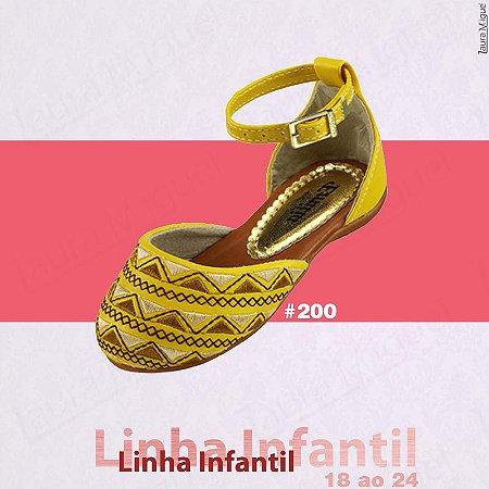 Sapatilha Infantil Amarela com Bordado - 200