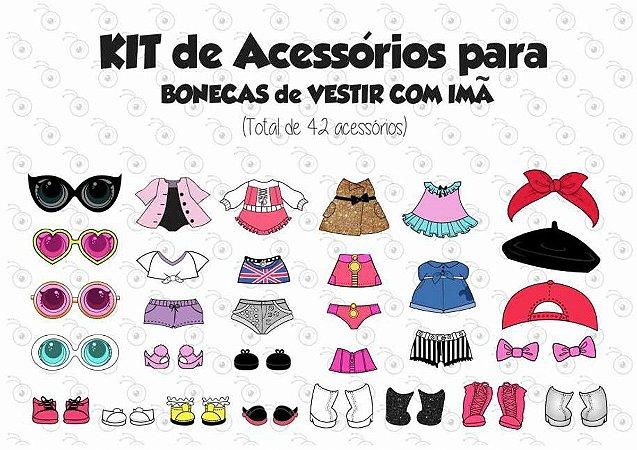 Kit 01 de Acessórios para Vestir com imãs - Bonecas LOL