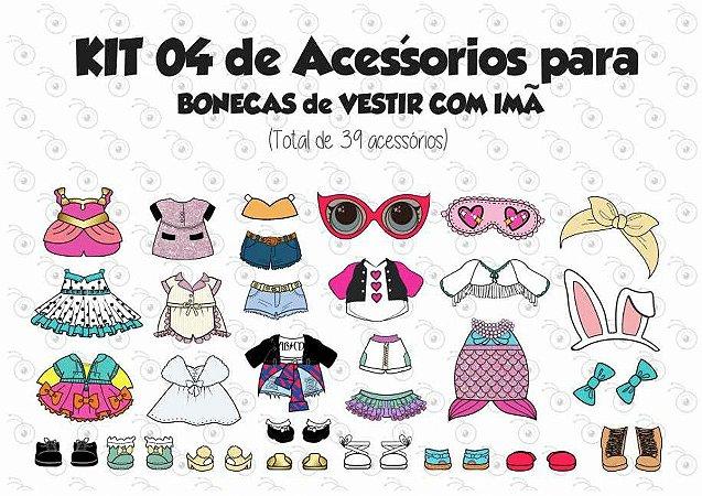 Kit 04 de Acessórios para Vestir com imãs - Bonecas LOL