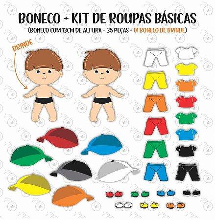 Kit Boneco + acessórios básicos - Boneco p/ Vestir
