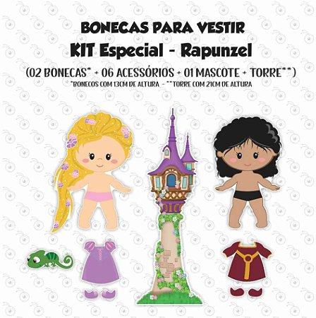 Especial RAPUNZEL - Kit Bonecas p/ Vestir