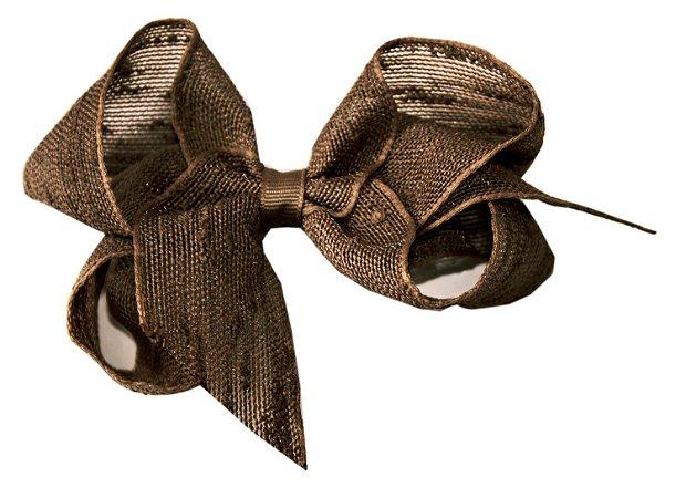 Laço Shabby Linen Marrom 12 cm Gumii