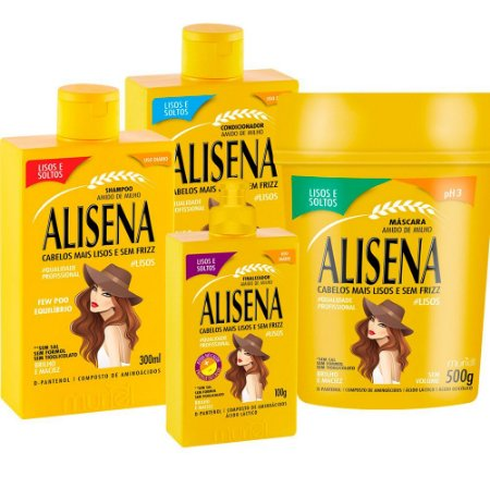 Muriel Alisena Kit Shampoo 300ml + Condicionador 300ml + Máscara 500ml + Leave in 100g