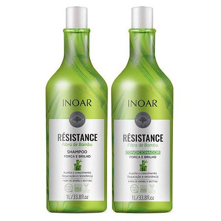 Inoar Résistance Fibra de Bambu Shampoo 1 litro + Condicionador 1 litro