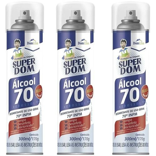 Álcool Aerossol 70% Super Dom Kit 3x300ml