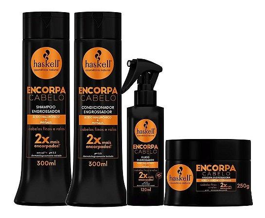 Kit Haskell Encorpa Cabelo Shampoo 300ml, Condicionador 300ml, Máscara 250gr e Fluído 120ml